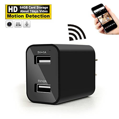 Hidden Camera Wall Charger - WiFi Remote View - Nanny Spy Camera Adapter - HD H.264 Video Recorder (64GB About Storage 7 days Video) - Motion Detection by LUOHE [Updated - Mini Security Square Camera