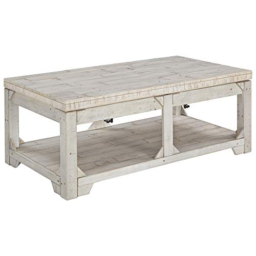 Ashley Furniture Signature Design - Fregine Coffee Table - Farmhouse - White Wash