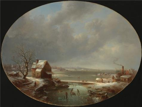 ('Regis Francois Gignoux,Winter,1853' Oil Painting, 12x16 Inch / 30x41 Cm ,printed On High Quality Polyster Canvas ,this High Resolution Art Decorative Prints On Canvas Is Perfectly Suitalbe For Bar Artwork And Home Gallery Art And Gifts)