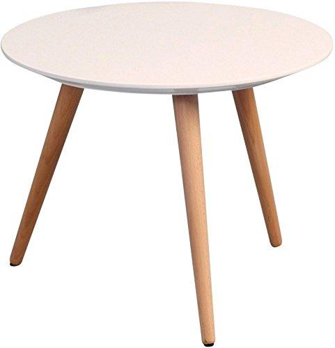 HomeTrends4You 172926 Couchtisch, Höhe 36 cm / Durchmesser 50 cm, weiß matt