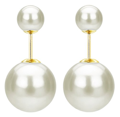 14k Contemporary Earrings (14k Yellow Gold 8mm and 16mm Front-back White Round Simulated Shell Pearl Stud Earrings)