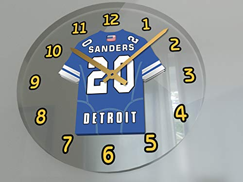 FanPlastic USA American Football Team Wall Clocks - All N F L Colours Available - Support Your Team !!! (Detroit Lions)