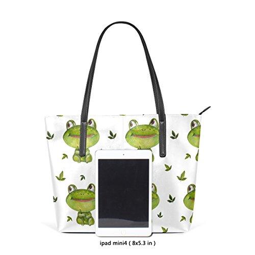 Coosun Aquarell kleine Frösche Muster PU Leder Schultertasche Handtasche und Handtaschen Tasche für Frauen
