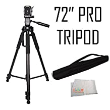 Professional 72-inch Tripod 3-way Panhead Tilt Motion w/ Built In Bubble Leveling for for Panasonic DMC-FZ1000, DMC-FZ70, DMC-FZ60, DMC-FZ200, DMC-FZ150K, DMC-LZ40, DMC-LZ20, DMC-FZ28, DMC-FZ35, DMC-FZ40, DMC-FZ47, DMC-FZ100 & DMC-G6 DMC-FZ300, GF7, GX7, GX8, GM1, CM1, LX100, ZS50, ZS40, TS5, FT5, LX100 Digital Cameras
