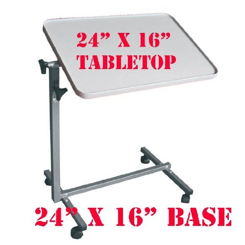 MedMobile Tilting Table with Tall Edge Laminated Table Top for Laptop Computer and Over the Bed Food Tray (Gray)