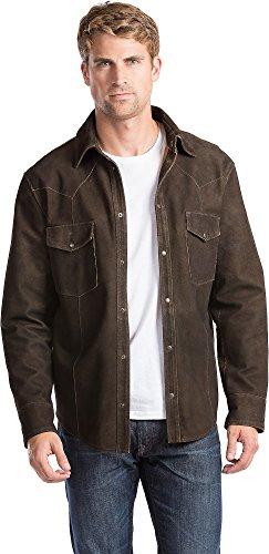Snap Close Western Shirt - Overland Sheepskin Co Shane Goatskin Suede Leather Western Shirt Jacket