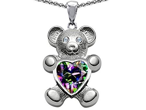 Star K Love Bear Holding 8mm Heart Shape Mystic Rainbow Quartz Pendant Necklace Sterling Silver