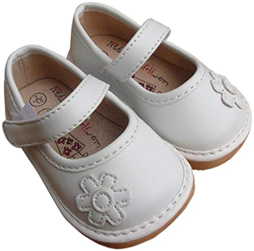 Jiazibb Baby Girls Velcro Leather Lovely Flower Squeaky Toddler First Walkers Shoes Sneakers (# 2 / Insole Length:120mm, White)