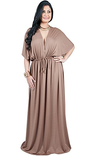 Adelyn and Vivian Plus Size Womens Long V-Neck Short Kimono Sleeve Sexy Casual Cute Formal Flowy Wedding Bridesmaid Maternity Summer Party Gown Gowns Maxi Dress Dresses, Brown/Latte 4X ()