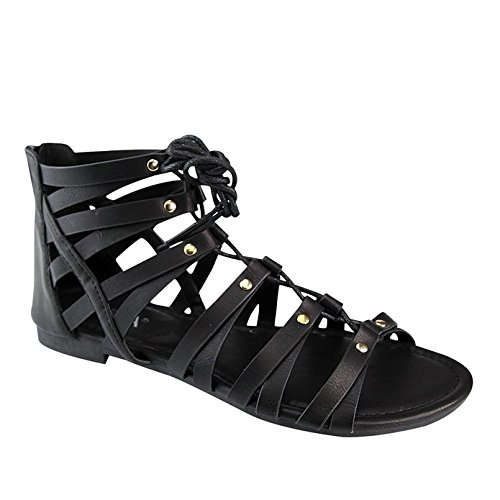 0ffaa053a44b Anna Home Collection Anna BRINA-10 Women s Studded Strappy Lace up Back  Zipper Gladiator Flat