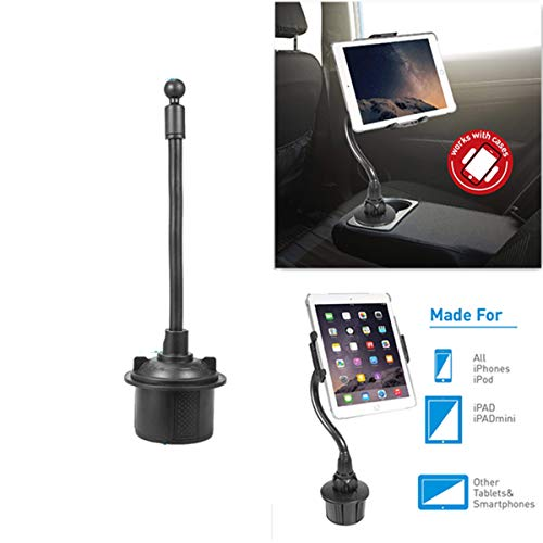 LSDMY Car Phone/Tablet Mount, Cup Car Phone Holder,360 Degree Adjustable Cell Phone Holder Compatible with iPhone Xs/XS MAX/XR/X/8/8Plus/7/7Plus, Galaxy S10/S8/S9, and More (All Tablet 7.9-12'')