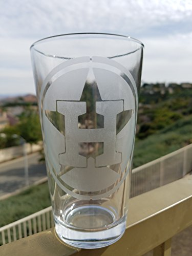 Houston Pint Glass Baseball Texas Beer Cup by Amerikan Made