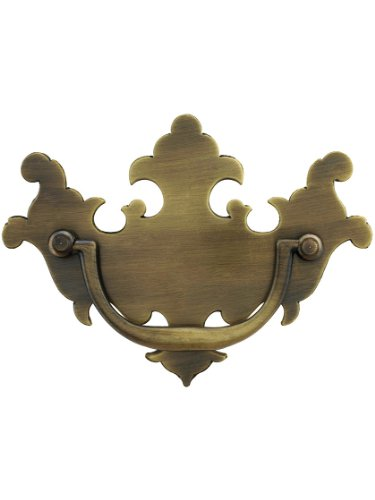 Colonial Chippendale Brass Bail Pull - 3 Center-to-Center in Antique Brass Finish