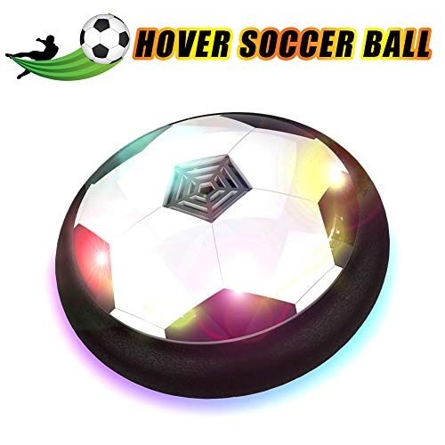 HobbyLane Hover Soccer Ball Kids Electric Football, Disc Ball with LED Lights Foam Bumpers Indoors Outdoors Training Football with Parents Game As Hockey Ball Gliding Ball Kicking Play Ball (Soccer Air Disc)