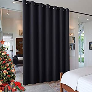 RYB HOME Blackout Thermal Insulated Blind Curtains, Noise Reduce Barrier for Nursery, Portable Curtain for Sliding Glass Door/Storage/Space Room Divider, 8.3 ft Tall x 7 ft Wide, Black, 1 Panel