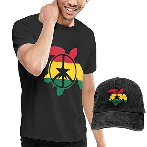 Adult Ghana Flag Sea Turtle Peace Sign Short Sleeve Tee and Hat Costume Set Black
