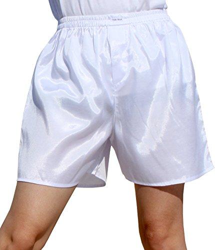 (Raan Pah Muang Thailand Plain Thai Silk Boxer Shorts Briefs Underwear Loose Boxers, Medium, White)
