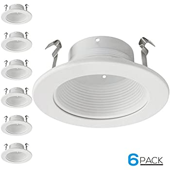 6 Pack 4 Inch Recessed Can Light Trim with White Metal Step Baffle for 4  sc 1 st  Amazon.com & 4 Inches Frosted Lens Shower Trim for Line Voltage Recessed Light ... azcodes.com