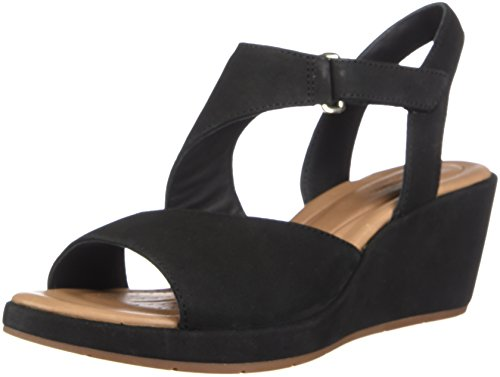 CLARKS Womens Un Plaza Sling Wedge Sandal, Black Nubuck, Size 9