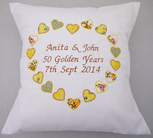 Personalised Ruby, Golden, Golden, Silver, wedding anniversary gift cushion pillow. Bespoke couple gift displaying name and date. Applique fabric hearts. Embroidered lettering.