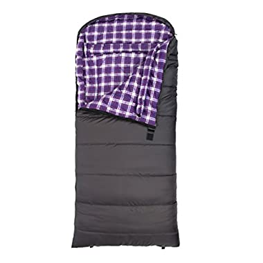 TETON Sports Fahrenheit Regular 0F Sleeping Bag, for Women; 0 Degree Sleeping Bag Great for Cold Weather Camping; Grey/Purple, Right Zip