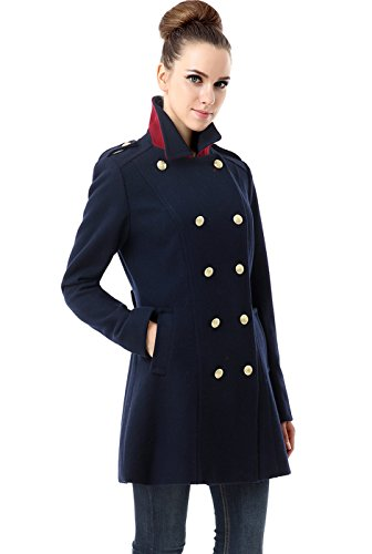 BGSD Women's Victoria Wool Blend Fitted Military Melton Coat, Navy, Medium (Pea Military Coat Women)