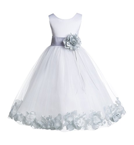 ekidsbridal Floral Rose Petals White Flower Girl Dress Pageant Dresses Junior Flower Girl Dress Birthday Girl 007 16