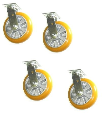 Set of 4 Heavy Duty Swivel Casters with Poly on Aluminum 8'' x 2'' Wheels