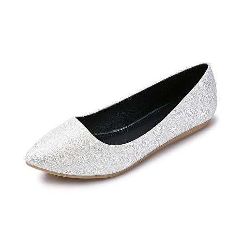 Oteza Femme Bout Pointu Slip Sur Confort Ballet De Marche Chaussures Plates Argent