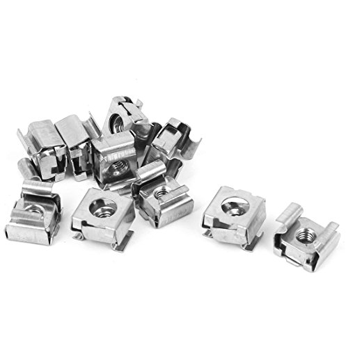 uxcell M4 x 0.7mm Pitch 304 Stainless Steel Cage Floating Nuts 10 Pcs for Server Rack Cabinet (Stainless Steel Cage Nuts)
