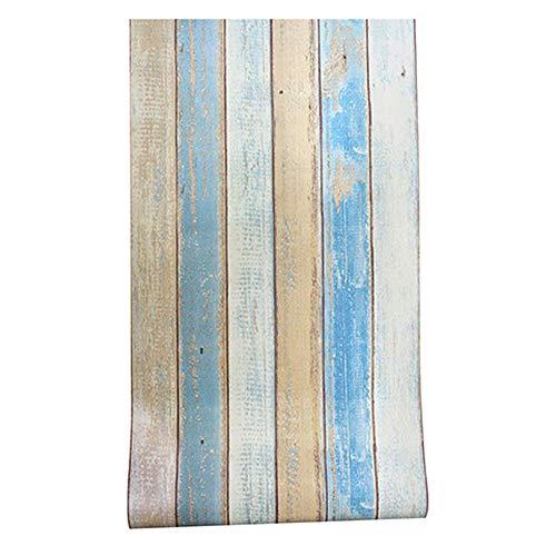 YJZ Papel De Madera De Contacto De La Raya Wallpaper Peel Y Muebles De Palo De Vinilo Renovar La Etiqueta Engomada De La...
