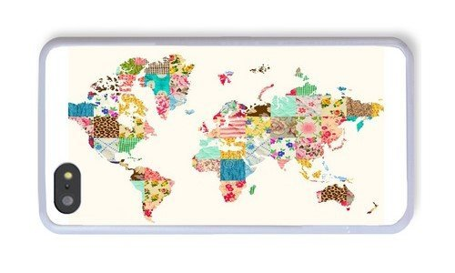 iPhone 5S Case, White PC Hard Phone Cover Case For iPhone 5S With Floral World Map Theme Phone Case