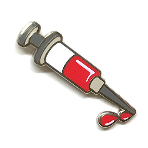 Needle Syringe Enamel Lapel Pin - Nurse Blood Donation Brooch - Vaccination Fun Trendy Accessory for Jacket T-Shirt