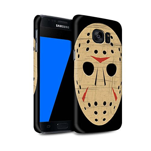 STUFF4 Matte Hard Back Snap-On Phone Case for Samsung Galaxy S7/G930 / Jason Vorhees Mask Inspired Design/Horror Movie Art Collection ()