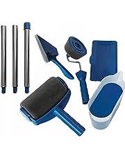 Retoo Verfrollerset 8 stuks met tank voor druppelvrij schilderen, verfrunner met telescoopstang en hoekborstel, multifunctionele schilderset, verfroller-schilderset, verfroller, verfroller, blauw