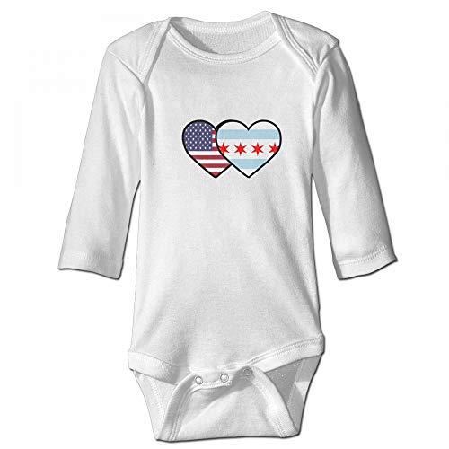 Chicago USA Flag Twin Heart Newborn Baby Long Sleeve Onesies Baby Romper