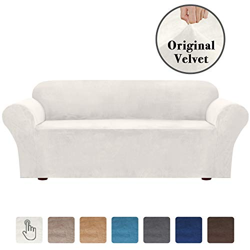 Luxurious Real Velvet High Stretch Sofa Cover/Slipcover Soft Spandex Form Fit Slip Resistant Stylish Furniture Cover Couch Covers Slip Covers Machine Wash (XL Sofa: 96