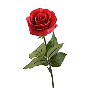 "Louis Garden 17"" Artificial Silk Flowers Fake Rose (1, Red) 110"
