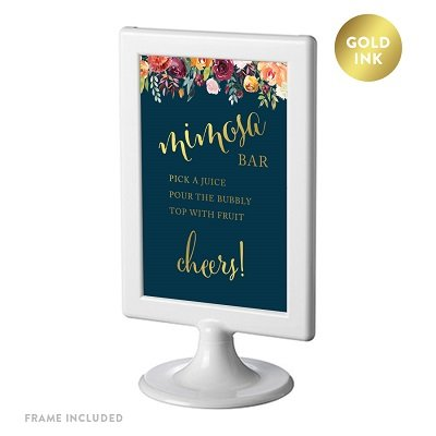 Mimosa Dessert - Andaz Press Framed Wedding Party Signs, Navy Blue Burgundy Coral Florals with Metallic Gold Ink, 4x6-inch, Build Your Own Mimosa Bubbly Champagne Cheers! Dessert Table Sign, Double-Sided, 1-Pack