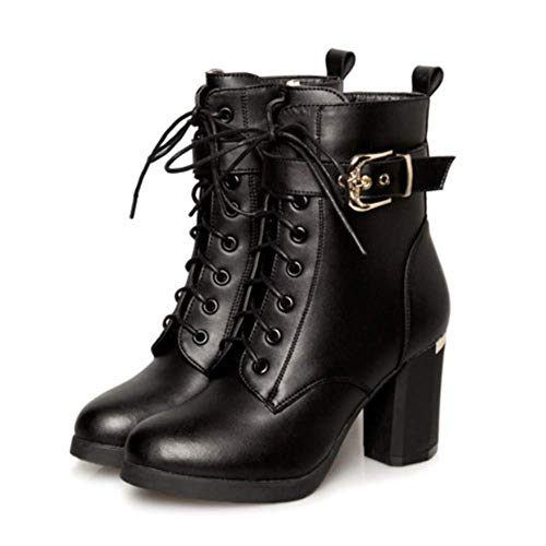 Shiney Style Boots Short And Womens Martin Head Zipper Autumn British Winter Knight Round For Blacksingle Thick Stick Side rwrZ4qWE
