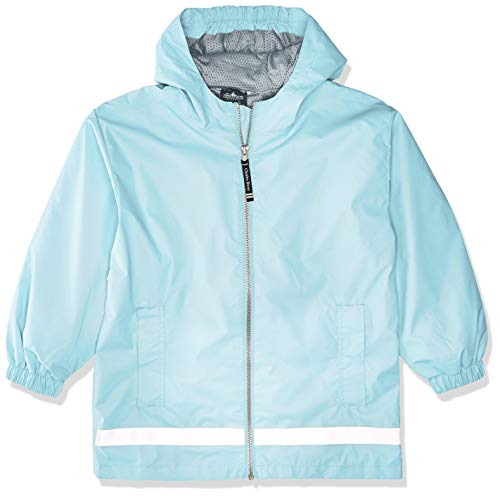Charles River Apparel Kids' Big New Englander Rain Jacket, Aqua/Reflective, M
