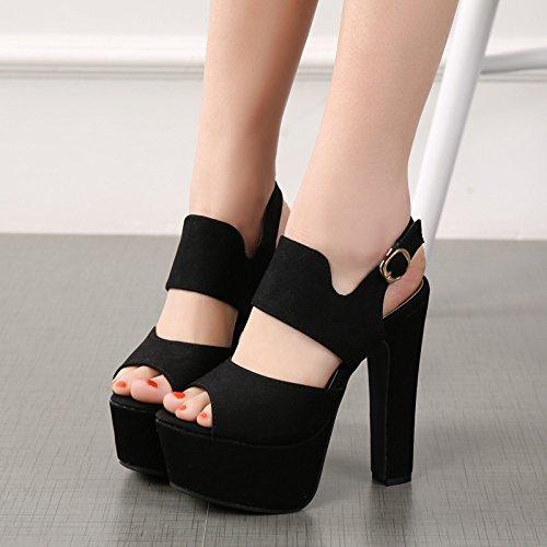 GTVERNH-14 GTVERNH-14 GTVERNH-14 cm Sexy Hochhackige Schuhe Weiblich Sommer Nachtclub Wasserdicht Eine Gürtelschnalle Stovepipe Sandalen 24c49f