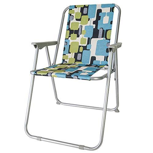 diMio Retro Design klapstoel in 8 trendy designs, camping tuin vissersstoel jaren 70 met aluminium frame (MELT)