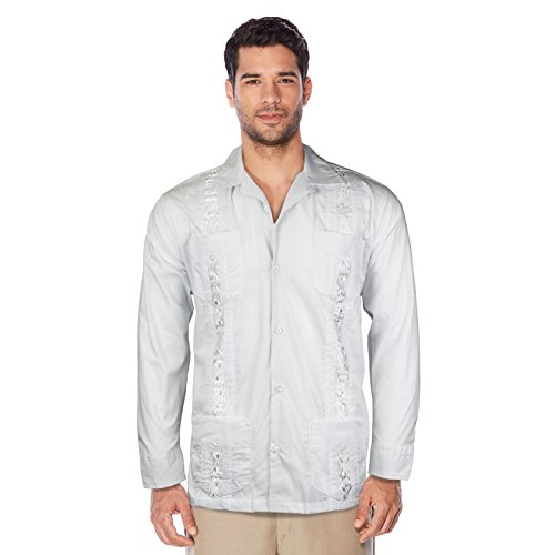 Maximos USA Guayabera Men's Cuban Beach Wedding Long Sleeve Button-up Casual Dress Shirt (White, Large) (Best Beach Wedding Attire)