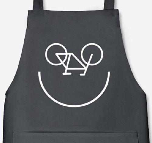 Shirtstreet24, Bike Smiley, Fahrrad Rennrad Barbecue Grill Schürze Kochschürze Latzschürze, Größe: onesize,Dark Grey