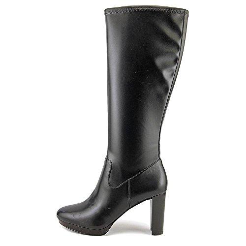 Nine West Kvinners Krayzie Skinn Lukket Tå Kne High Fashion Støvler Sort