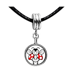 Chicforest Silver Plated Happy Cute Beatles Photo Light Rose Crystal October Birthstone Flower dangle Charm Beads Fits Pandora Bracelets