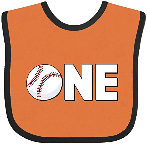 Inktastic - One- baseball first birthday Baby Bib Orange and Black 28744