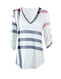 Simaier Women's Oversized Casual Tops Long Sleeve Plaid Pattern Print Shirts