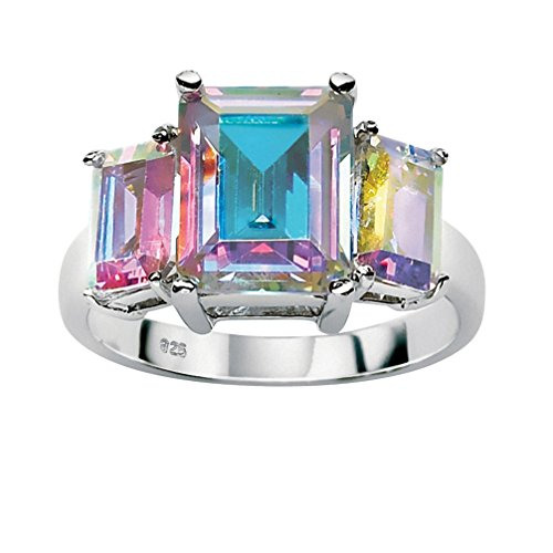 Emerald-Cut Aurora Borealis Cubic Zirconia .925 Sterling Silver Cocktail Ring Size (Emerald Color Cubic Zirconia Ring)